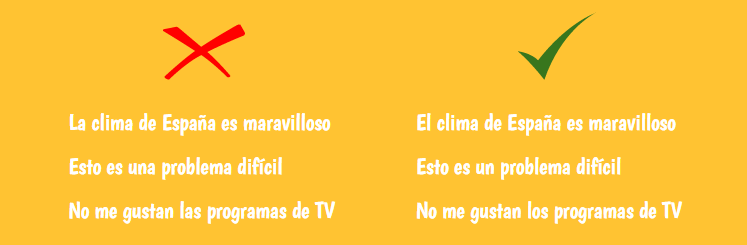 common mistakes in spanish gender