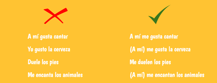 common mistakes using gustar and similar verbs